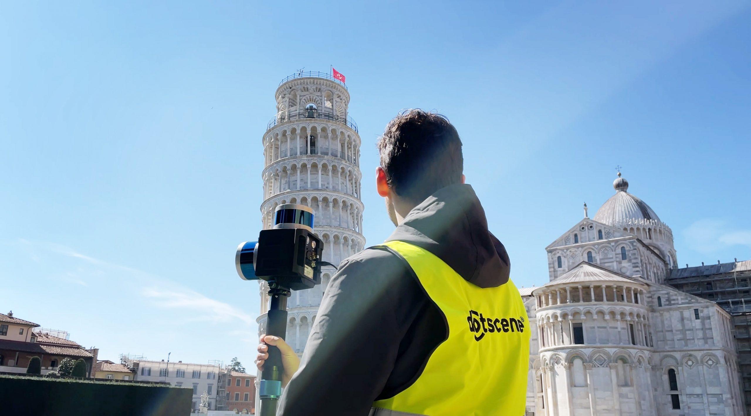 Ansicht von dotcube bevor dem Scannen des Turms von Pisa