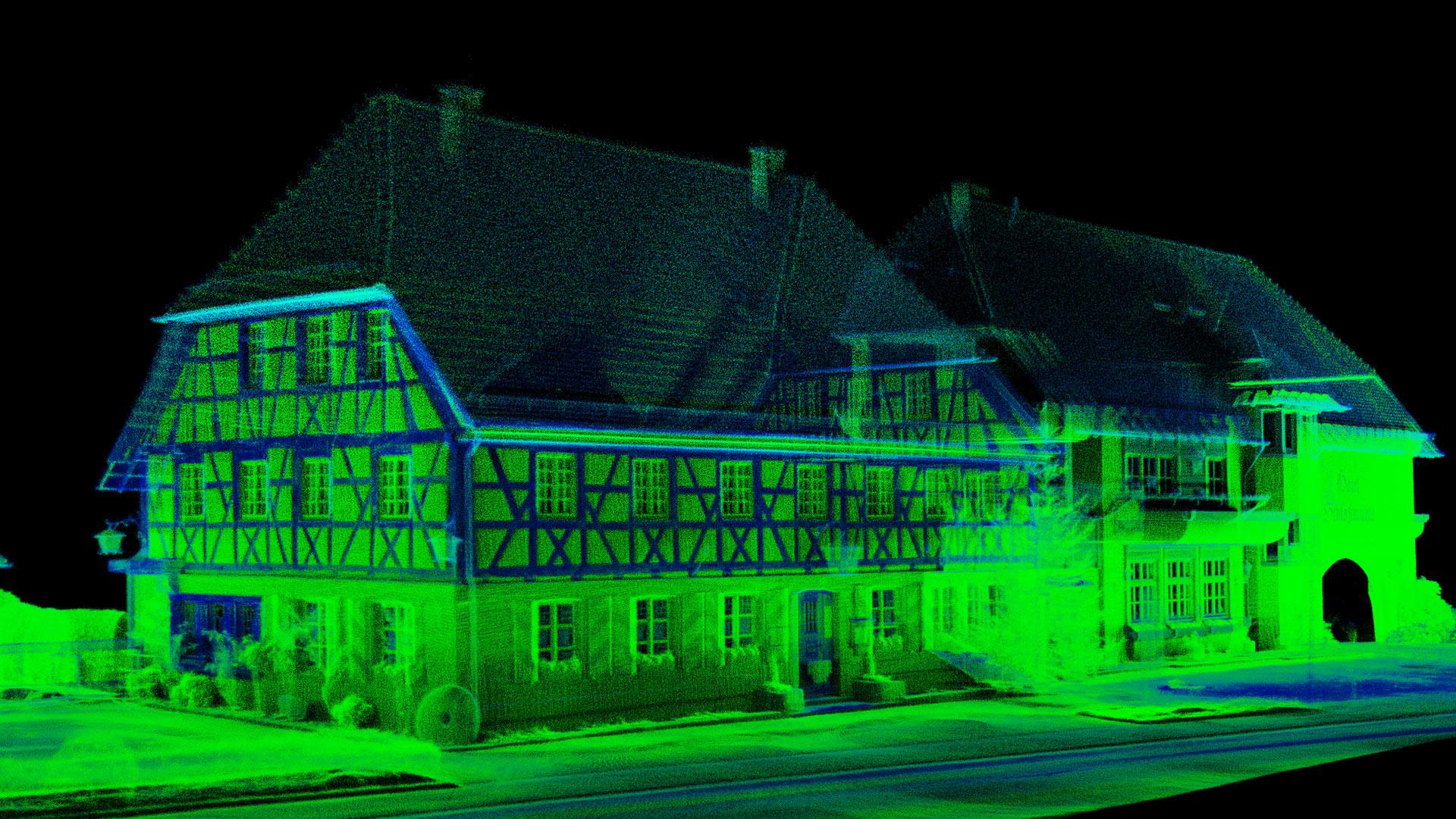 Laser 3D punktwolke Bild von einem Haus