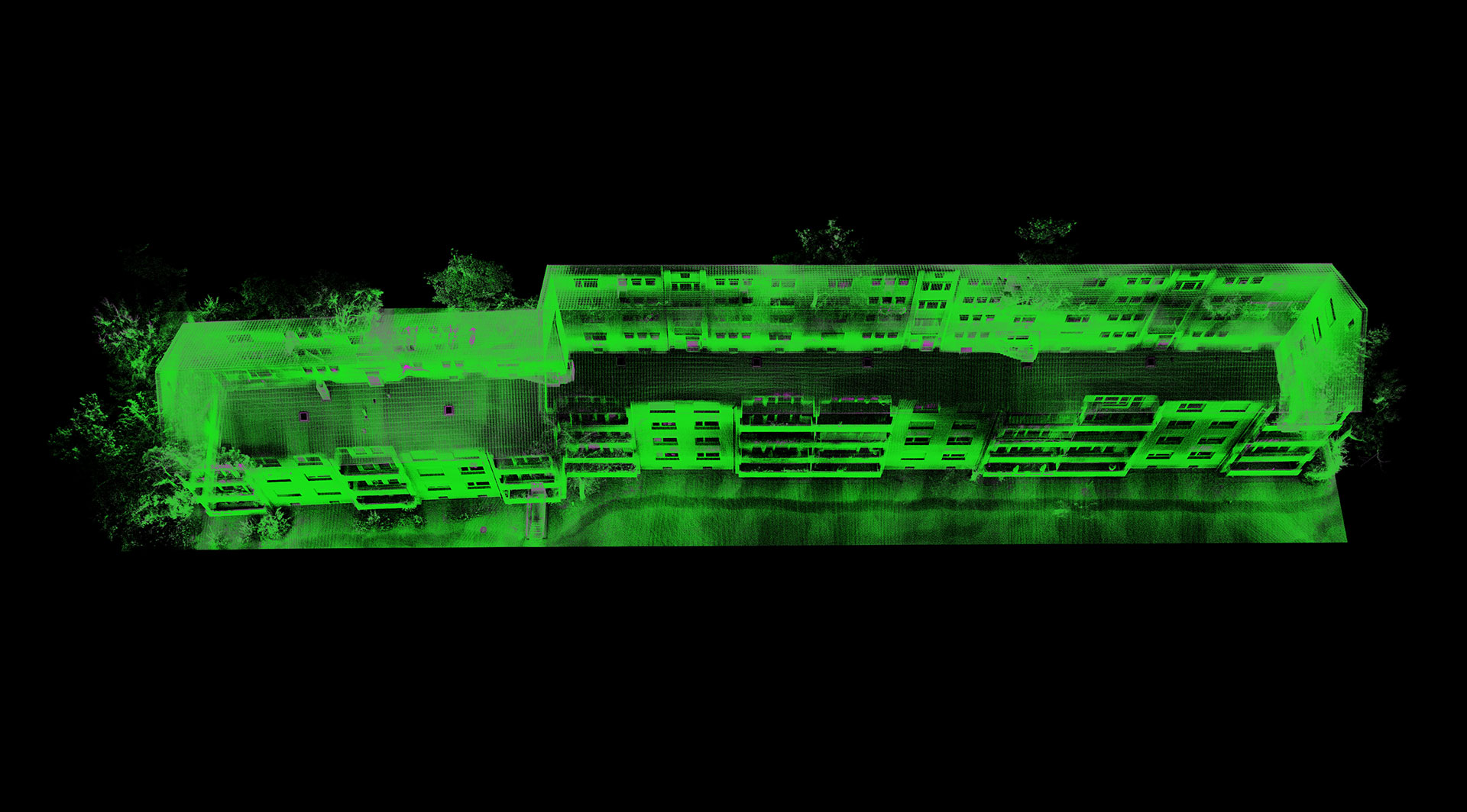 Point cloud of building in green colour